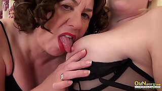 OldNannY Two Mature Lesbian Ladies Sharing One Toy